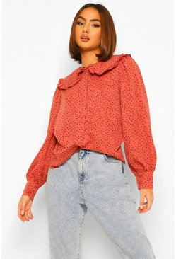 Pink Polka Dot Collar Button Through Blouse, Rosa pálido rosa