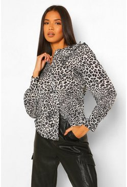 Black Leopard Print Collar Button Through Shirt