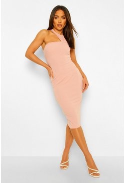 Rose pink Tailored Cut Out Sleeveless Midi Dress