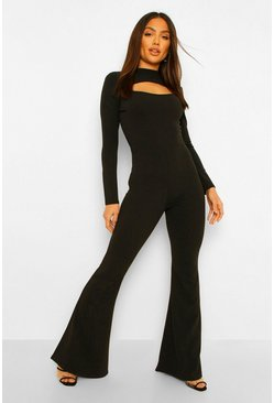 Black Tailored High Neck Cut Out Wide Leg Jumpsuit