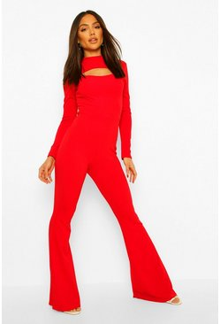 Dark red red Tailored High Neck Cut Out Wide Leg Jumpsuit