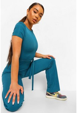 Teal green Ribbed High Neck Shoulder Pad Wide Leg Jumpsuit