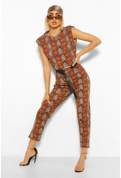 Chocolate Snake Print Shoulder Pad Unitard Jumpsuit