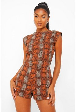 Chocolate brown Snake Print Shoulder Pad Unitard Playsuit