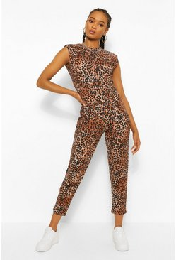 Tan Leopard Print Shoulder Pad Unitard Jumpsuit