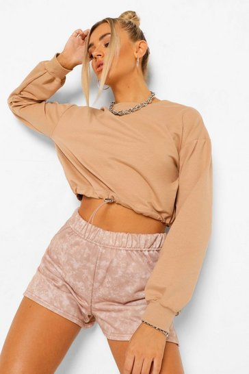 Taupe beige Acid Wash Split Hem Loopback Sweat Shorts