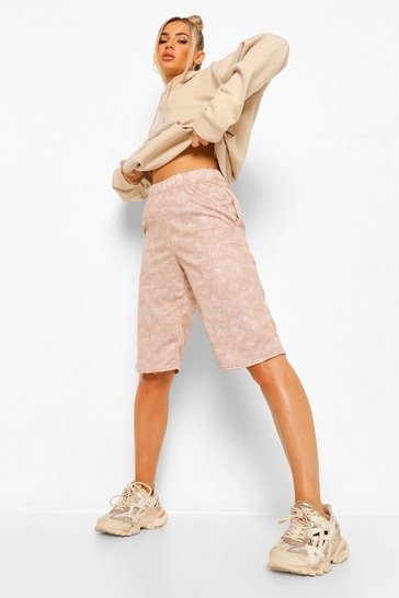 Taupe beige Acid Wash Longline Loopback Sweat Shorts