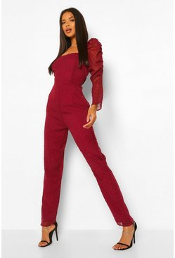 Berry red Dobby Mesh Sweetheart Neckline Jumpsuit