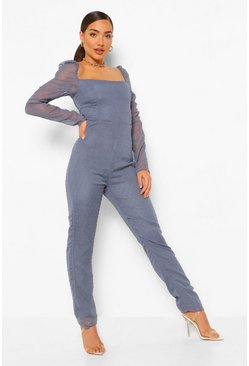Dusty blue blue Dobby Mesh Sweetheart Neckline Jumpsuit