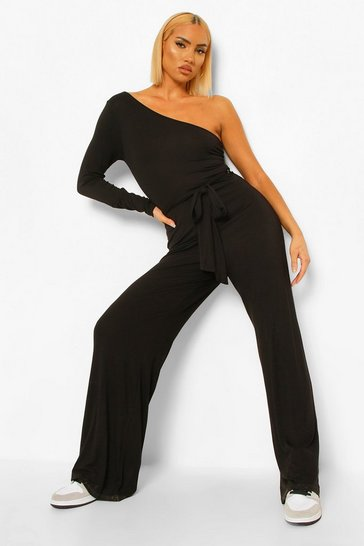 Black One Shoulder Belted Wide Leg Jumpsuit