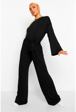Black Flared Sleeve Slouchy Casual Wide Leg Jumpsuit