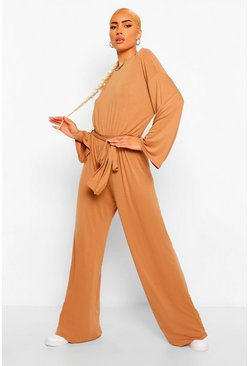 Caramel beige Flared Sleeve Slouchy Casual Wide Leg Jumpsuit
