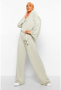 Sage Flared Sleeve Slouchy Casual Wide Leg Jumpsuit
