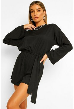 Black Flared Sleeve Sloucy Casual Belted Playsuit