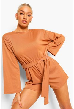 Caramel beige Flared Sleeve Sloucy Casual Belted Playsuit