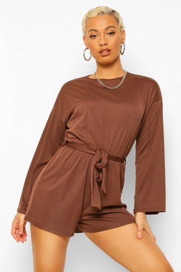 Chocolate brown Flared Sleeve Sloucy Casual Belted Playsuit