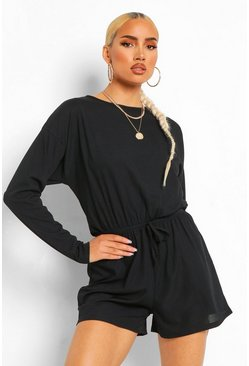 Black Ribbed Long Sleeved Drawstring Waist Playsuit