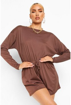 Chocolate brown Ribbed Long Sleeved Drawstring Waist Playsuit