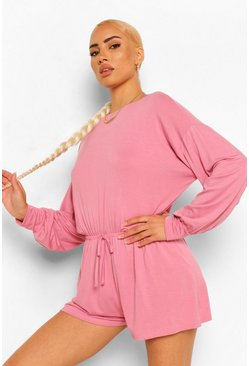 Dusty pink Volume Sleevetie Waist Casual Slouchy Playsuit