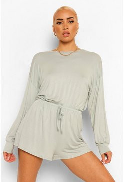 Sage green Volume Sleevetie Waist Casual Slouchy Playsuit