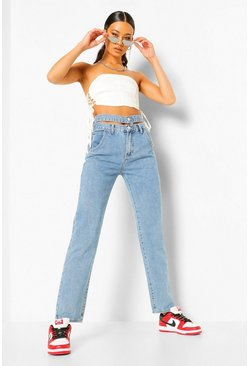 Cut Out Waistband Boyfriend Jean , Vintage blue azul