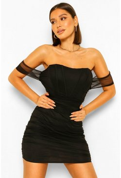 Black Gathered Corset Mini Dress