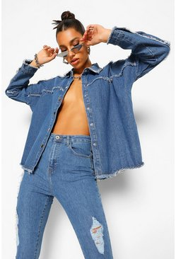 Dark blue blue Denim Outer Seam Detail Oversized Shirt