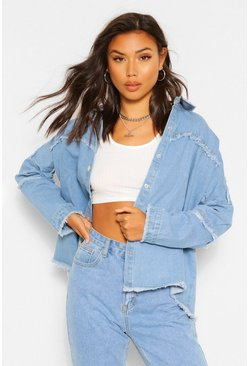 Denim Outer Seam Detail Oversized Shirt , Light blue azzurro