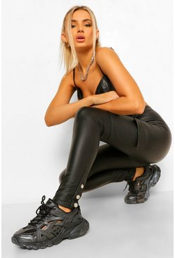Black Wet Look Cargo Legging