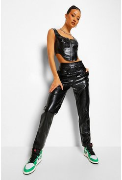 Black Croc Leather Look Trouser