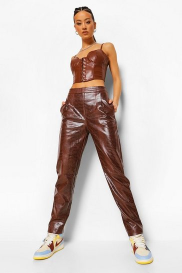 Brown Croc Leather Look Trouser