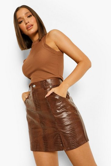 Brown Croc Pu Mini Skirt