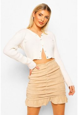 Stone beige Suedette Ruched Mini Skirt