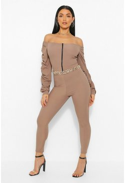 Mocha beige Off The Shoulder Zip Up Unitard Jumpsuit