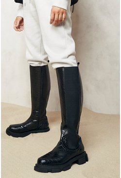 Black Wide Fit Chunky Knee High Croc Chelsea Boots