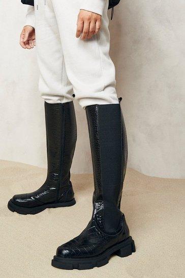 Black Chunky Knee High Croc Chelsea Boots