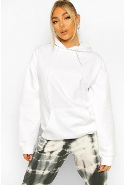 Oversized Hoody, White blanco