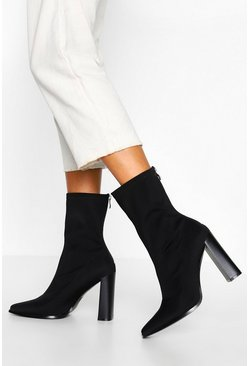 Black Zip Back Block Heel Sock Boots