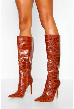 Brown Croc Pointed Toe Stiletto Heel Knee High Boots