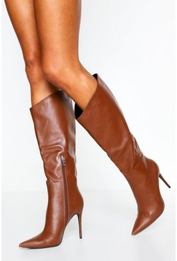 Tan Angled Stiletto Heel Pointed Toe Knee High Boots