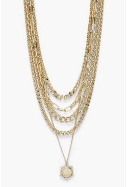 Gold 5 Layer Chunky Chain And Coin Necklace