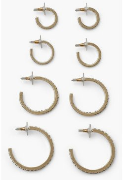 Gold 4 Pack Diamante Hoop Earrings