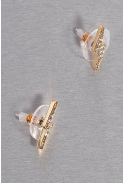 Gold Premium Cubic Zirconia Lightning Earrings