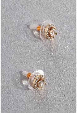 Gold metallic Premium Cubic Zirconia Round Stud Earrings