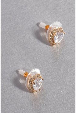 Gold metallic Premium Cubic Zirconia Heart Stud Earrings