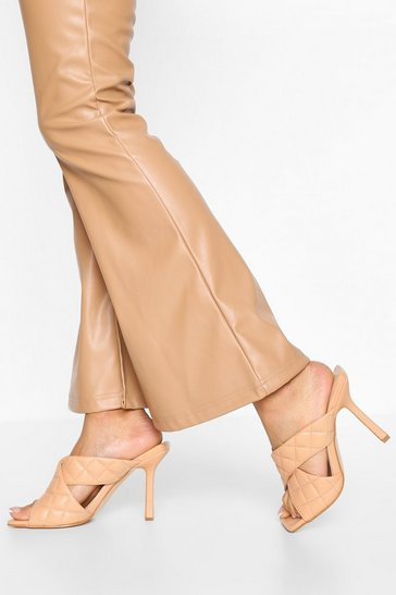 Nude Wide Fit Quilted Cross Strap Mules