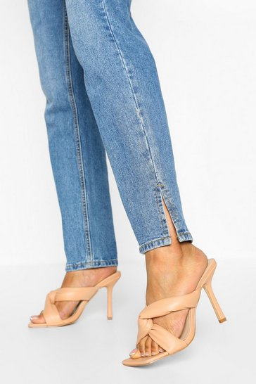 Nude Wide Fit Padded Strap Square Toe Mules