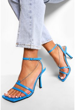 Electric blue blue Wide Fit Square Toe Chain Detail Heels