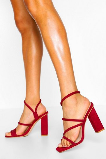 Burgundy red Wide Fit Padded Square Toe Block Heels