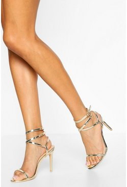 Double Strap Stiletto Heel Two Parts, Gold Металлик